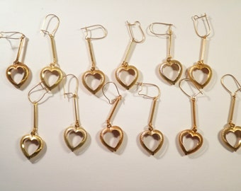 6 Prs. of Gold Plated Heart Earrings