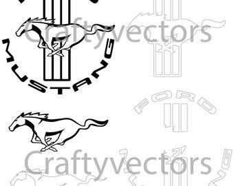 Ford Mustang Logos - Vector