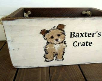 Personalized Country Farmhouse Styel Rustic Dog Toy Box Crate