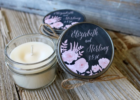 Set of 12 - 4 oz Candle Wedding Favor - Soy - Personalized Wedding Favors // Chalkboard Roses Wedding Favors
