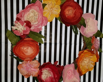 14-in Wreath Paper Flower Wreath