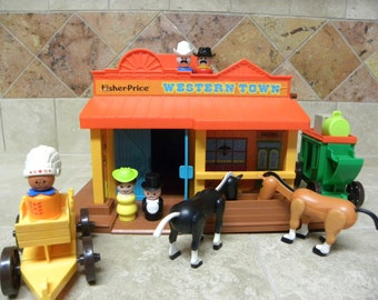 Vintage Fisher Price Play Family Western Town