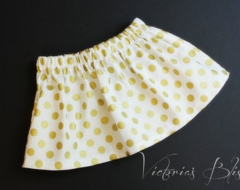 Market Circle Skirt~ Holiday Gold Polka Dot on white ~Custom Boutique Girls Skirt, Toddler Girls,  Made to order: Newborn to 5/6 Girls