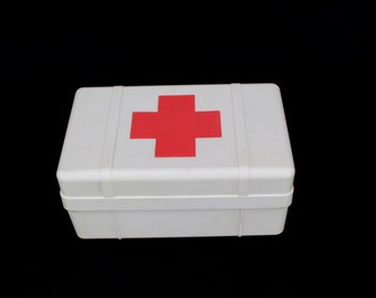 Red cross box Medical box First aid box Medicine chest Red cross cabinet Soviet vintage medical box