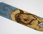 Tapir Pyrography Bookmark - Blue - Woodburning
