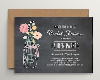 Bridal Shower Invitation \ Printable Invitation \ Mason Jar Invitation \ Chalkboard Invitation \ Floral Invitation (BR116)
