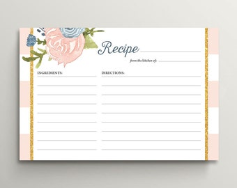 Printable Bridal Shower Recipe Cards / Navy and Blush Floral Recipe Card (PP85)