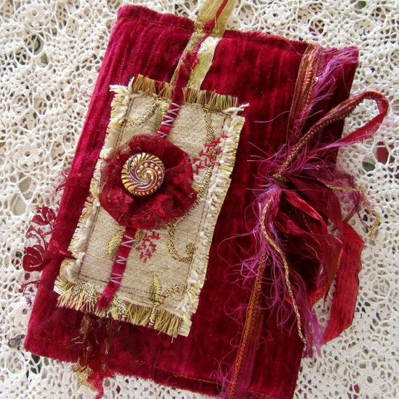 Book Cover Material Ideas ~ Red velvet book slip cover fabric journal gift idea