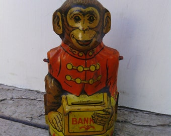J. Chein Litho Tin Monkey Bank