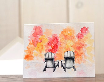 Adirondack chairs stationery, Watercolor stationery set, fall foliage nature notecards, autumn personal stationery, mixed media art prints