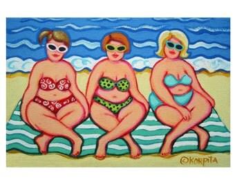 Whimsical Beach Folk Art 8x12 Glicee Print - Summer Daze - Girlfriends Women Vacation from original painting Korpita EBSQ