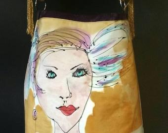 Handpainted silk tote bag,one-of-a-kind handbag,showgirl, art bag,handbags,luxury purses for women, accessories for her,michelemorganart