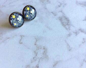Black, White, Yellow Patterned Post Earrings