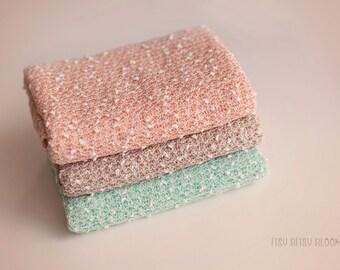 Marshmallow Wrap, Newborn Photo Prop, Baby Knit Wrap, Popcorn Wrap, Textured Newborn Wrap - Peach, Mint, Coco