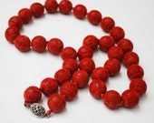 Red Cinnabar Bead necklace - silver clssp- Asian carved - 16 mm beads - silk hand knotted - ArtDeco - 27 inches