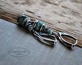 Green Chrysoprase Stone Earrings Artisan Modern Small Sterling Silver Jewelry by Letemendia