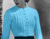 Almost FREE Vintage 1940s Cardigan Sweater Blouse with Long Sleeves 902 PDF Digital Knit Pattern
