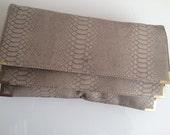 blush pink nude snake skin large clutch bag faux leather gold hardware crocodile skin