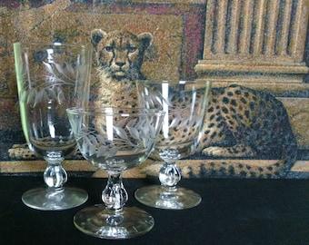 Vintage Crystal Glasses Goblets - Stemware -  Tea, Wine, Water, Compote - Etched Leaf Design - 38 Pieces