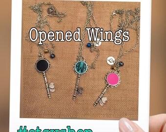 Monogrammed Heart Skeleton Key Necklace, Enemel Heart Skeleton Key Necklace, Skeleton Key Necklace, Enamel Key