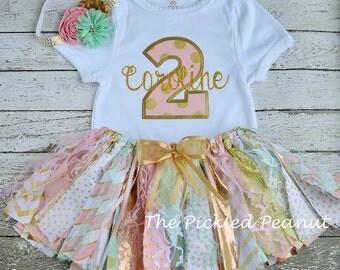 Pink Mint Gold Birthday Outfit Birthday Tutu 2nd Birthday Girls Birthday Outfit Baby Tutu Shabby Chic Birthday Fabric Tutu Baby Girl Skirt