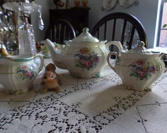 SALE-Gorgeous Ridgways/Ridgway England-Roslyn-Teapot/Creamer/Sugar Bowl/Lids-Pink Rose/Assorted Florals-Must See