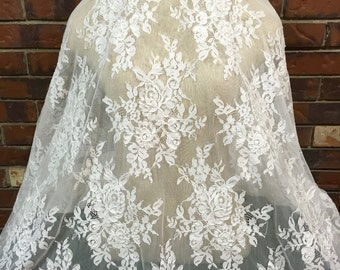 Lace Fabric, Light Ivory Lace, Embroidered Tulle, Corded Lace, Beautiful Lace, Bridal Lace, Bridal Lace, E1-001