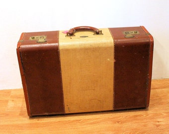 40s Suitcase, Tommy Traveler, Leather Trim Suitcase, Cool Distressed Vintage Suitcase, Mid Century 1940s Luggage