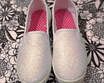 White Glitter Canvas Bridal Shoes - Wedding Flats
