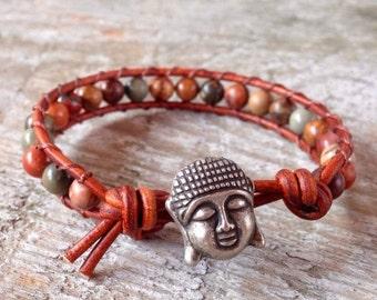 SPRING SALE buddha beaded leather wrap bracelet brown yellow red and gray jasper gemstone yoga jewelry guys and girls