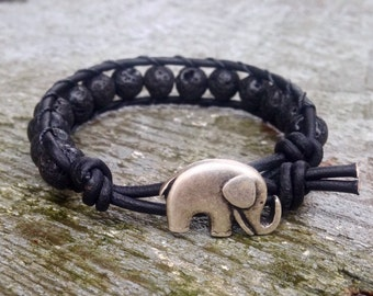 guys elephant lava rock beaded leather wrap bracelet black with elephant for guys and girls