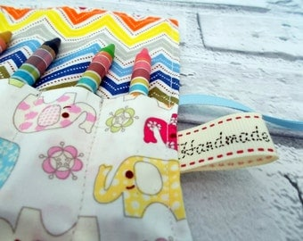 Multi Colored Elephant Crayon Roll, Pencil Roll, Crayon Holder, Pencil holder, Birthday Favours, Stocking Fillers