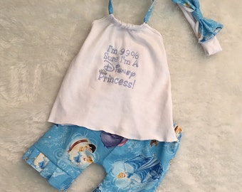 Cinderella,princess,embroidered,Boutique Style, ruffle short Set size NB 3  6 9 12 24 months, size 2 3 4 5T