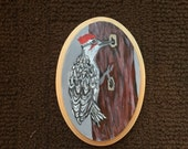 WOODPECKER BIRD original one of a kind acrylic painting on oval wooden canvas panel