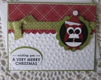Handmade Greeting Card: Christmas Owl