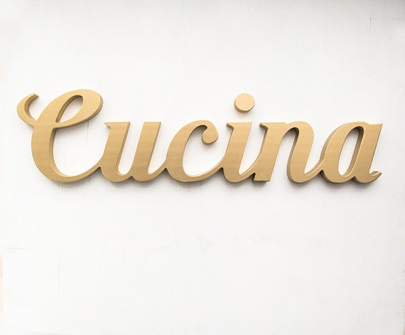 Cucina sign wooden italian script sign kitchen letters wall for Kitchen letters decoration