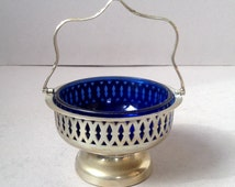 Vintage silver plate bon bon dish, Blue Glass Liner, Sweet dish with handle, Cut out pattern, Small silver plate bowl, Candy bowl