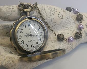 Steampunk Watch - Large Steampunk Pocket Watch Necklace - Steampunk Pocket Watch - Steampunk Necklace - Purple Haze - Gift for Her