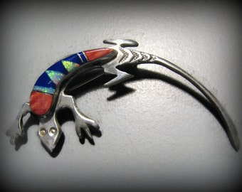 Vintage NAVAJO Signed Melissa Yazzie LIZARD Inlay Brooch -- Sterling Silver with Lapis, Spiny Oyster Shell and Lab Opal