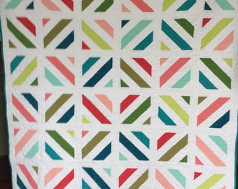 Lap, throw, couch, bright modern quilt blanket lime green, mint, peach, teal