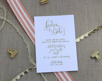 Gold Calligraphy Wedding Invitation