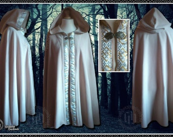 Short Cape, Cloak, Polar Fleece, Rounded Hood, with Braid, Wedding, Hand fasting, Pagan, Ritual