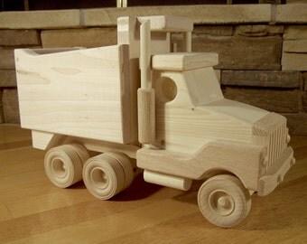 Handmade Wooden Dump Truck Toy