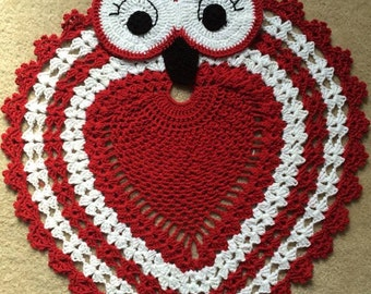 Owl Rug, Owl Crochet Rug, Owl Doily Rug,  Circular Crochet Rug, Crochet Owl, Owl Decor, Owl Nursery Rug, Red and white Decor, Cotton Rug