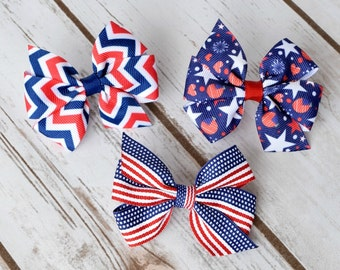 Hair Bows, Baby Hair Bows, 3 inch Bows, Pinwheel Hair Bows, Fourth of July Bow, Patriotic Hair Bow, Girls Hair Bows, Hairbows, Bows, 300