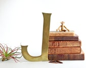 Vintage brass large letter J – solid brass initial J – large brass letter J wall hanging – vignette decor
