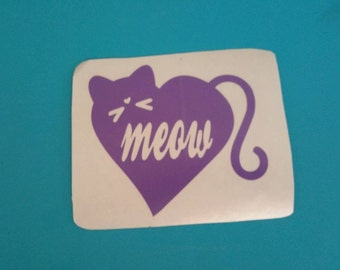 CUSTOM VINYL Decal Design Choose your Colors MEOW Kitty