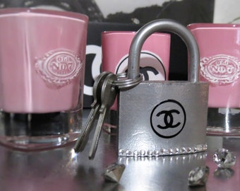 CC Blingy Silver LOCK  & 3 keys Medium 1.5 or Large 2.5 inch  Lock Custom Quote or Name or Date Front and Back