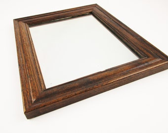 """A Vintage  Mirror in Wide Oak Frame - Thick Mirror Glass - Vintage Mirror Framed in Oak - Dark Oak Framed Mirror - 10 by 12"""" Mirror"""