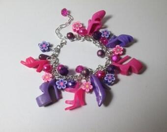 KIDS SIZE /Fuchsia and Purple / Barbie Shoe  bracelet with flower beads / Item 9-095
